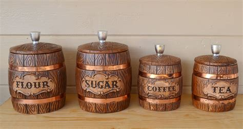 Style Kitchen Canister Sets by Canisters Ceramic Treasure Craft Wooden Barrel Style With