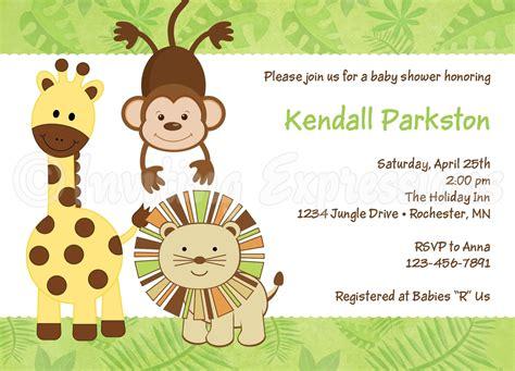 jungle animals baby shower invitations animal baby