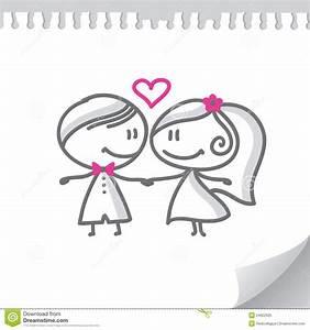 Dessin Couple Mariage Noir Et Blanc : pares do casamento dos desenhos animados ilustra o do ~ Melissatoandfro.com Idées de Décoration