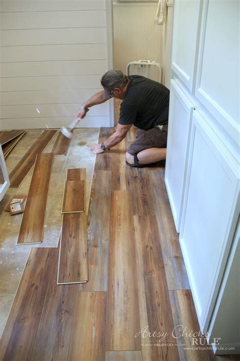 You may have to cut some pieces as. Farmhouse Vinyl Plank Flooring (One Room Challenge, Week 5) | Vinyl wood flooring, Vinyl plank ...