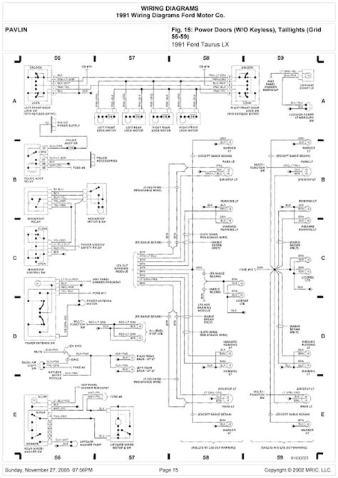 1991 Lincoln 7 Wiring Diagram by 1991 Ford Taurus Lx System Wiring Diagram Power Doors