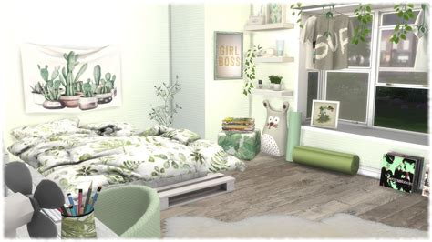 The Sims 4 Speed Build  Green Themed Bedroom + Cc Links