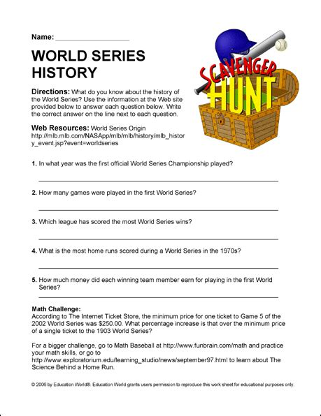 worksheets for history scavenger hunt quot world series quot worksheet education world