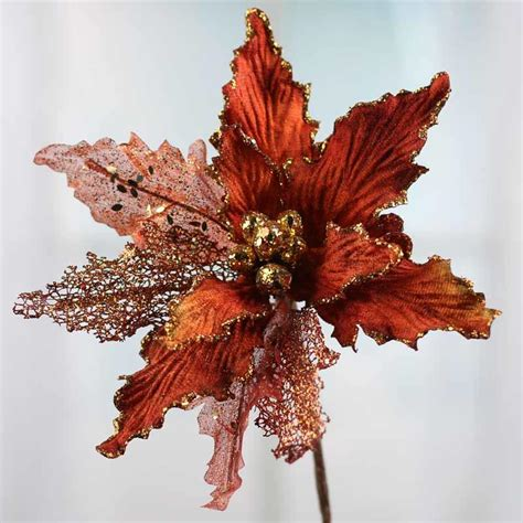 copper christmas copper sparkling mesh artificial poinsettia pick christmas holiday florals floral supplies
