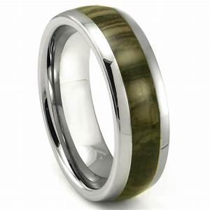 tungsten carbide oak metamorphic stone inlay dome wedding With inlay wedding rings