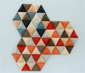 Wood Wall art, geometric, hexagons, set of 4, mid century