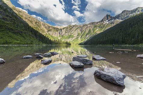avalanche lake glacier national park hd wallpaper background image  id