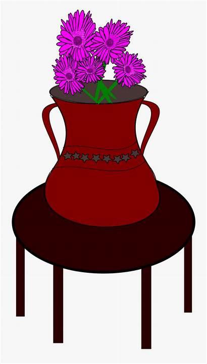 Table Clipart Vase Flower Flowers Pot Pink