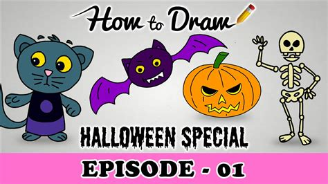 draw  halloween pumpkin cat bat skeleton