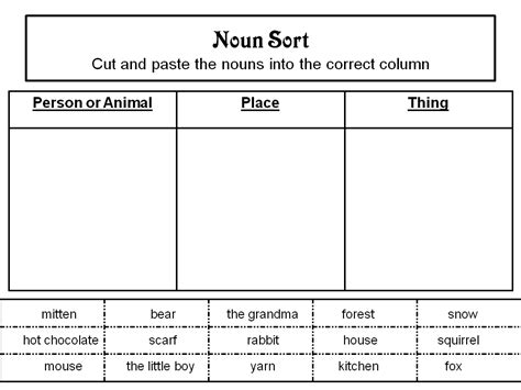 free printable cut and paste noun worksheets