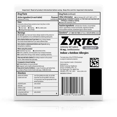 zyrtec  hour allergy relief  mg  tabs rite aid