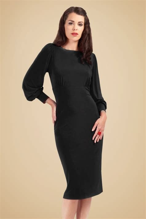 Bubbleroom Valerie Dress Black 30s valerie bishop sleeve pencil dress in black