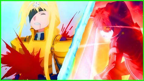 kirito sword alicization god mode death anime episode return vs play foxen