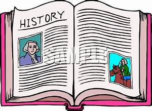 Clipart Picture of an Open History Book with Pictures of ...