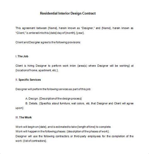interior design contract template 8 interior designer contract templates pdf doc free