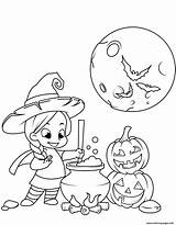 Coloring Witch Pages Halloween Cute Potion Cauldron Cooking Printable Adults sketch template