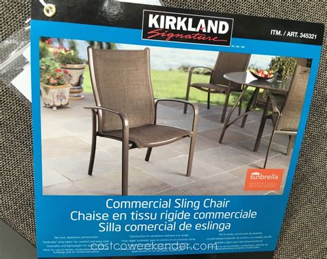 kirkland commercial patio furniture kirkland commercial sling chair costco weekender