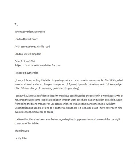 character reference letter for court template 6 character reference letter sles sle templates