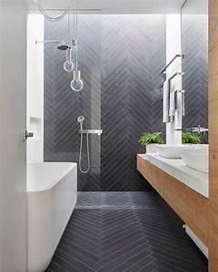 modern bathroom with herringbone pattern tile i décor aid