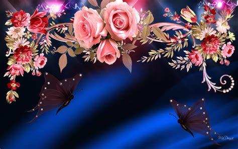 hd  roses butterflies wallpaper