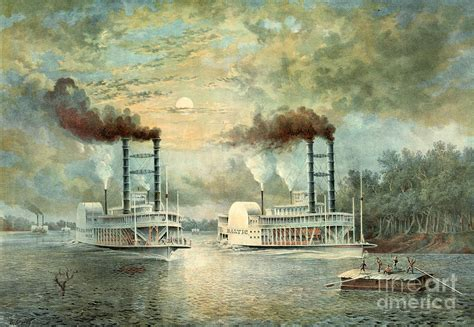 mississippi steamboat race  photograph  padre art