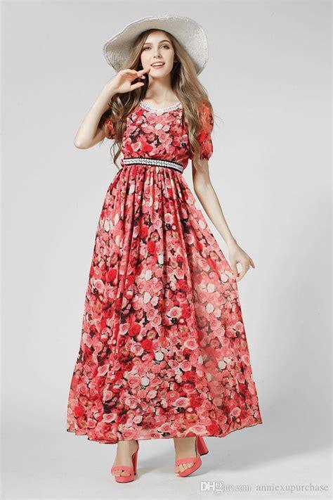 Fashion Women Girls Casual Long Dress Chiffon Red Floral Flower Print Flared Circle Short Sleeve ...