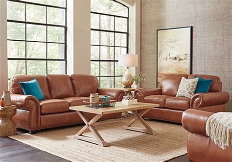 Balencia Light Brown Leather 5 Pc Living Room
