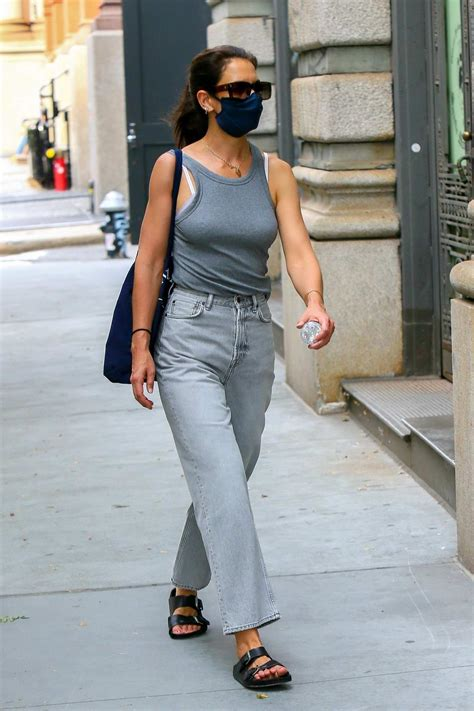 Katie Holmes wears grey tank top and jeans while out in ...