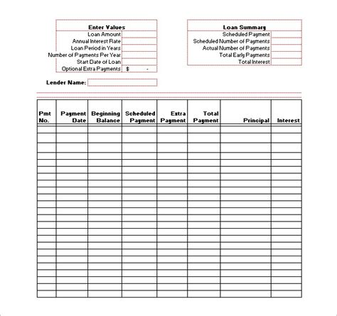 loan amortization spreadsheet template amortization schedule templates 10 free word excel