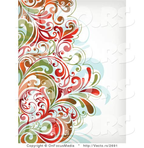 vector  colorful leafy floral border background