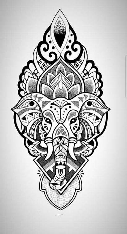 Mandala Gambar Tattoo Elephant Tato Tattoos Batik