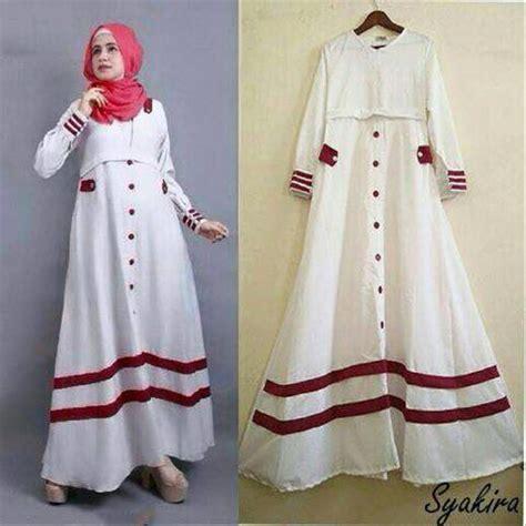 jual syakira dres white baju panjang putih gamis polos
