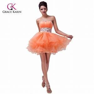 prom dresses under 50 grace karin orange short high low With robe de soirée orange