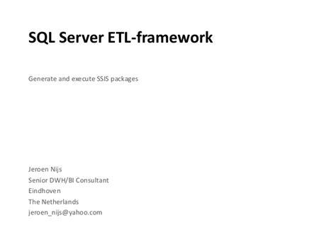 Sql Server Etl Framework