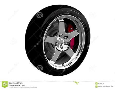Photo-realistic Vector Illustration Of Car Wheel Stock