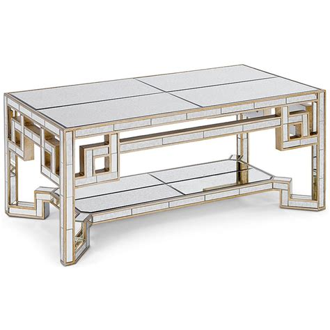 gold mirrored coffee table interlude larissa mirrored coffee table with gold leaf