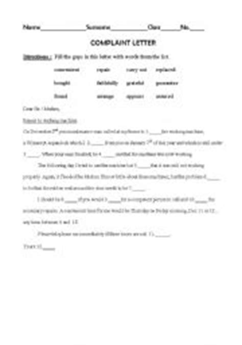 Complaint letter - ESL worksheet by mai_san444