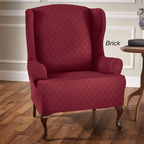 slipcover for wing chair newport stretch wing chair slipcovers
