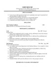 resume format for chief cook chef resume template student resume template