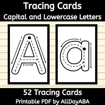 tracing cards capital  lowercase letters