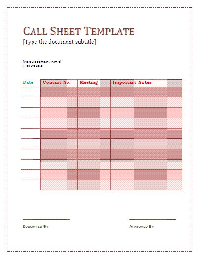 call sheet template  sheet templates