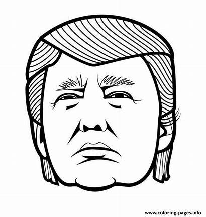 Trump Coloring Donald Funny Pages Face Vector