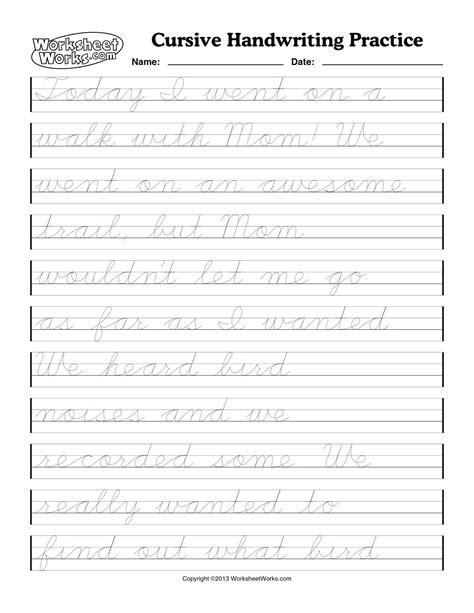 printable cursive handwriting worksheets   grade