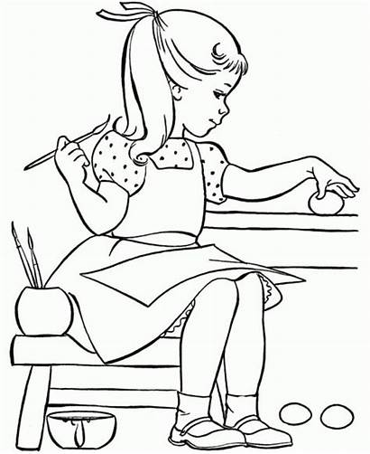 Coloring Pages Painting Egg Easter Books Printable