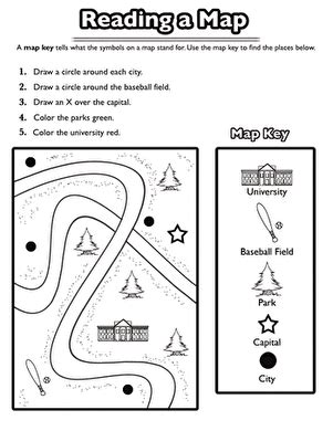using a map key worksheet education