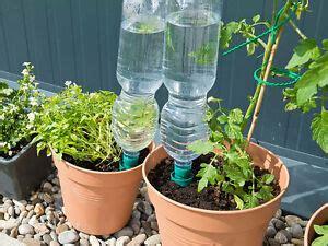 pflanzen bewässern pet flaschen 6 x wasser spender pflanzen bew 196 sserung pet flaschen aufsatz ton flasche blumen ebay