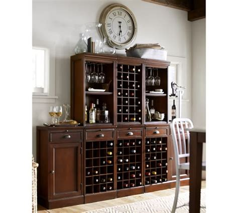 pottery barn wine cabinet modular bar cabinet with 1 wine hutch 2 open hutch