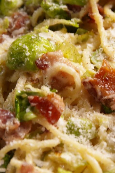 bacon brussels sprouts spaghetti recipe food