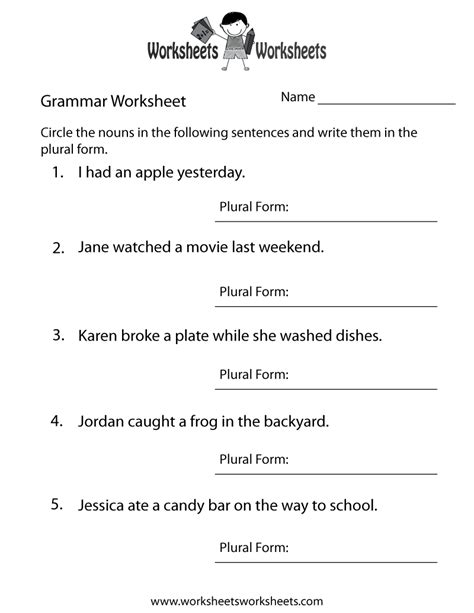 grammar worksheet free printable educational