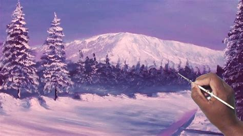 How To Draw Oil Painting Snow Capped Mountain Beautiful